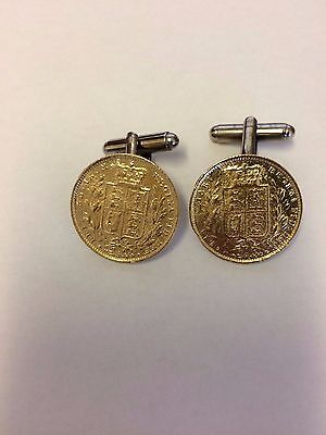 Victorian Soverign Coin WC32A Gold Pair of Cufflinks Made From English  Pewter