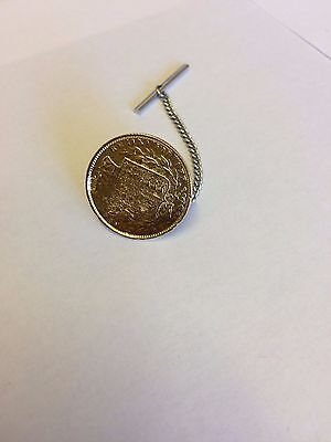 Victorian Soverign Coin WC33 Gold Tie Pin With Chain Made From English  Pewter