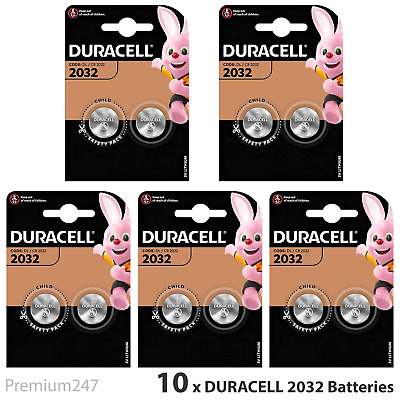 10 x Duracell CR2032 3V Lithium Coin Cell Battery 2032 DL2032 BR2032 Expiry 2027