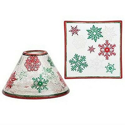 Yankee Candle Xmas Red & Green Christmas Large Shade and Tray Plate Holder Set