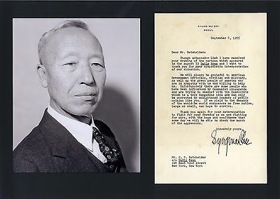 PRESIDENT OF THE REPUBLIC OF KOREA Syngman Rhee autograph, typed letter signed