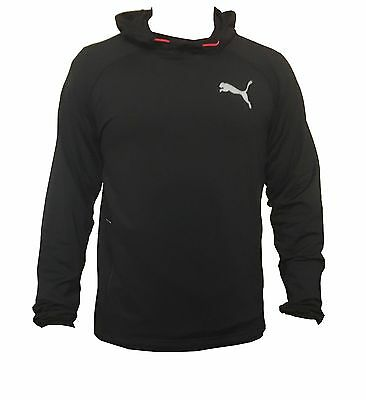 New Puma Mens Black Pullover Fleece Hoodie Gym Hooded Shirt Training Top