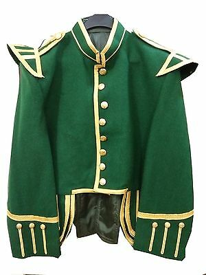 Men's Military Drummer / Pipe Doublet / Handmade Green Jacket in 100% Wool .