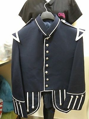 Men's Military Drummer / Pipe Doublet / Handmade Black Jacket in 100% Wool