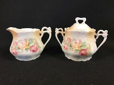 Creamer And Covered Sugar Germany With Yellow And Pink Roses