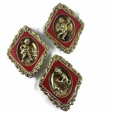 Vtg Retro Ardco 3D Cherub Angel Putti 3 Red & Gold  Diamond Wall Plaques Japan