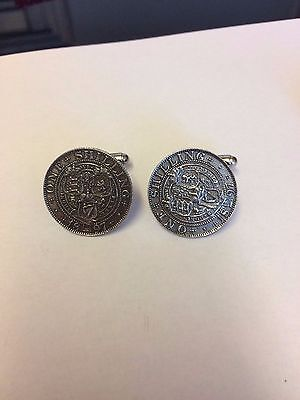 Victoria Shilling coin WC42A Pair of Cufflinks Made From English  Pewter
