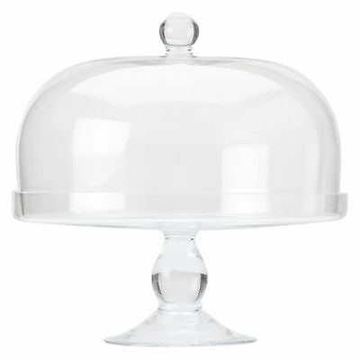 NEW Maxwell & Williams Diamante Glass Rounded Cake Stand with Dome, 30cm