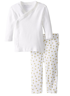 Burt's Bees Baby Kimono Top & Honey Bee Print Pant Set, Unisex 3-6 Months