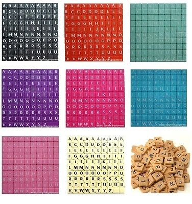 100 X Plastic/Wooden Scrabble Letters Tiles Black/White Letters Match And Mix