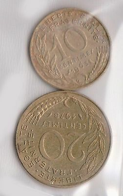 (H30-72) 1963-78 France 10c and 20c coins (J)