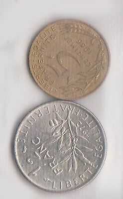 (H30-69) 1986-72 France 5c and ½F coins (G)