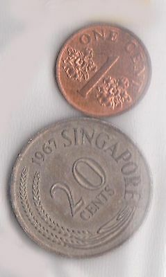 (H30-13) 1967-95 Singapore 1c and 20c coins (A)