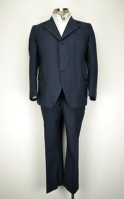 "46"" Short 3 Button Vintage Striped Flared Suit Blue John Collier"
