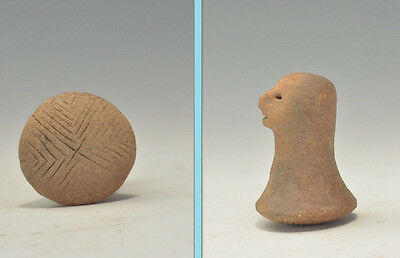 Pre Columbian Taino Indian Pottery Figural Stamp Seal -   circa  1100 AD