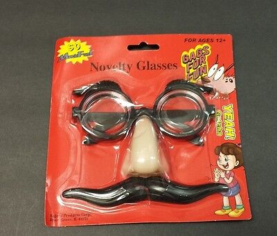 Novelty Glasses W/ Nose Mustache Spectacles Geek Gag Gift Costume Halloween