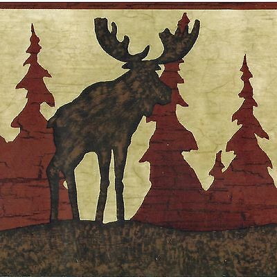 Moose, Bear & Pine Trees Golden Brown Silhouette - ONLY $9 Wallpaper Border A434