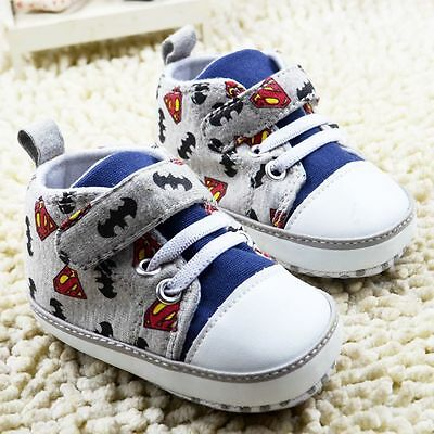 Baby Boy  'Superman'  'Batman'  Grey & Blue Pre Walker Boots  Shoes