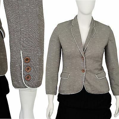 70's Vintage Women's M Butte Knit White Piped Casual Blazer Marled Brown