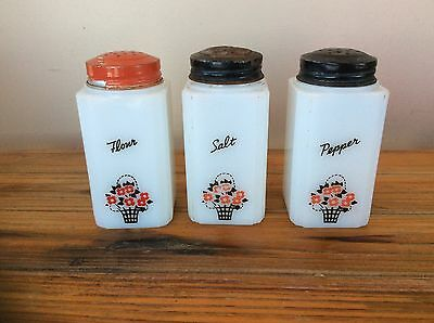 Vintage 1950's Tipp City Milk Glass Salt, Pepper, Flour Shaker Set