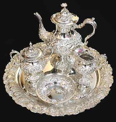 STIEFF ROSE Hand Chased Sterling Silver 5 Piece Tea Service w Tray, c. 1950s