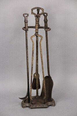 1920s Vintage Hammered Fire Tool Set Antique Fireplace Hearth (10058)
