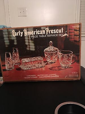 Anchor Hocking Early American Prescut 7 Piece Table Service Set