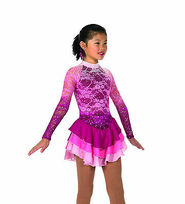 New Jerrys Competition Skating Dress 56 Misty Lace Rose Mist Made on Order