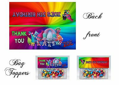 Trolls Bag Toppers, Trolls Gift Tags, Trolls, Birthday, Bag Toppers