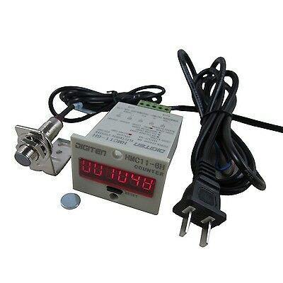 DIGITEN 110V-240V 6-Digit 0-999999 LED Display Digital UP Counter+Hall NPN Pr...
