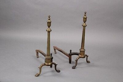 Pair 1920s Brass Andirons Antique Fireplace Vintage Fire Hearth (10055)