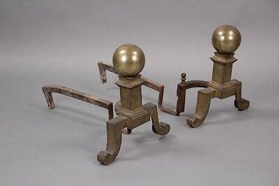 Pair 1910 Small Antique Andirons Vintage Canon Ball Motif Gold Tone (10054)