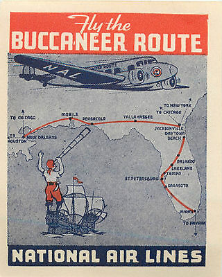 Fly the Buccaneer Route ~NATIONAL AIRLINES~ Old Luggage Label / Poster Stamp