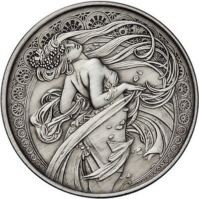 Alphonse Mucha Collection - DANCE 5 oz .999 Silver Antiqued Finish Round US Coin