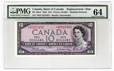 "Canada $10 Dollar Banknote 1954 BC-40bA PMG Choice UNC 64 "" Replacement / Star """