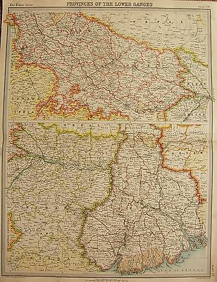 1920  Large  Map : The Ganges Valley, From Delhi To Calcutta