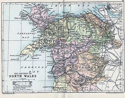 1889 Antique County Map Parliamentary Div. North Wales