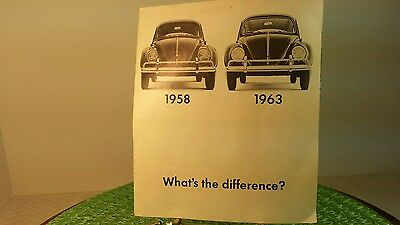 """VW Volkswagen 1963 1958 """"What's the difference"""" Advertising Brochure BUG TYPE-1"""