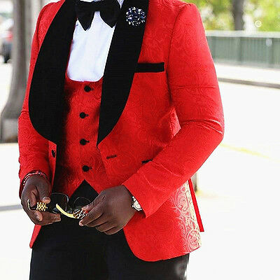Red Floral Mens Suits Wedding Groom Tuxedo Slim Fit Groomsman Prom Party Suits