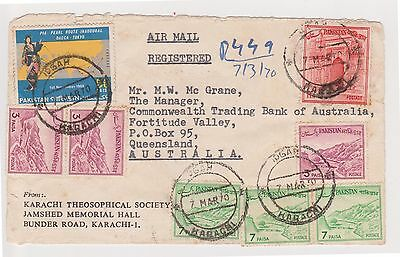 (Q18-58) 1970 airmail Pakistan envelope COMM BANK old Australian REG