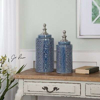 Uttermost 20113 Pero Sapphire Blue Urns Set of 2 New