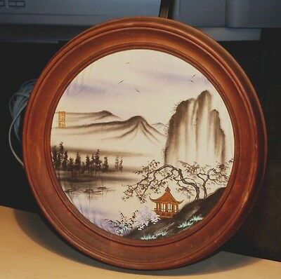 Signed Oval Peaceful Asian River Boats Landscape Painting On Silk Round Frame