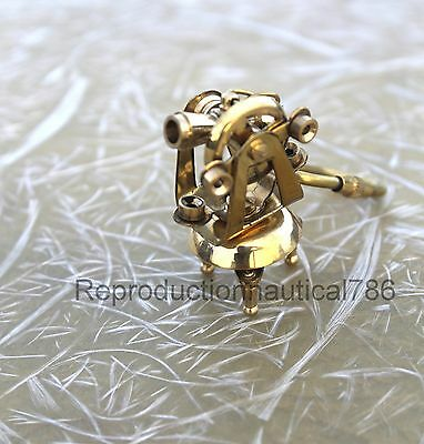 Nautical Design Brass Survey Theodolite Key Chain Maritime Collectible Key Ring