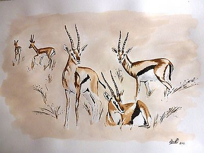 "Aquarelle originale ""Les gazelles"""