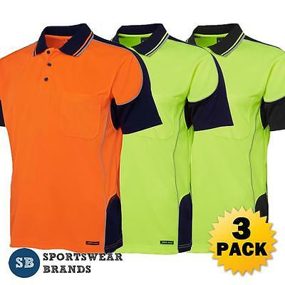 3 x Mens Hi Vis Contrast Piping Polo Shirt Work Trade Uniform Size S-5XL 6HCP4