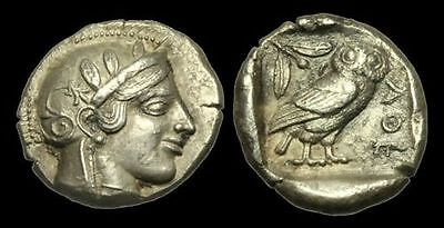 Greece - Attica, Athens - Athena Owl Coin - Ancient Silver Tetradrachm Greek