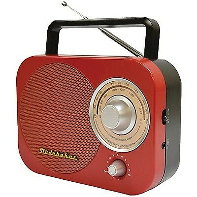 Studebaker Portable AM/FM Radio in Red STUD-SB2000RB