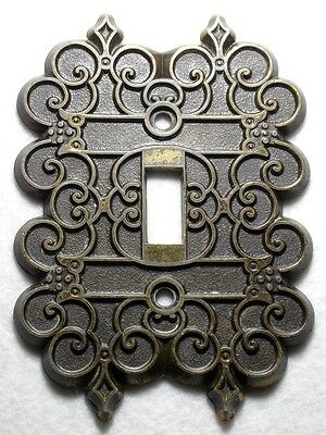 Vintage pewter switch wall plate old style gold tone nice design - Canada