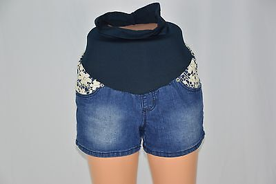 Haute Mama Small NEW Blue Jean Denim Maternity Shorts Crochet Full Belly Panel