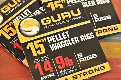 """Guru 15"""" Pellet Waggler Bait Band Ready Made Rigs Coarse Match Commercial Fishin"""